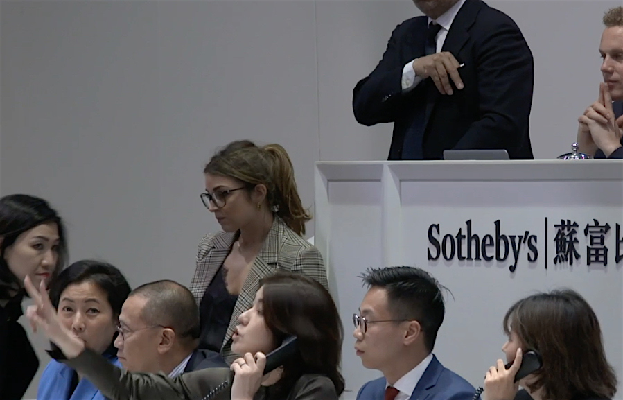 寺瀬由紀 TERASE Yuki, Senior Director, Head of Contemporary Art, Asia, Sotheby's Hong Kong, during the last bid at Sotheby's Hong Kong, 1st of April 2019 THE KAWS ALBUM sold for US$ 14.8 million