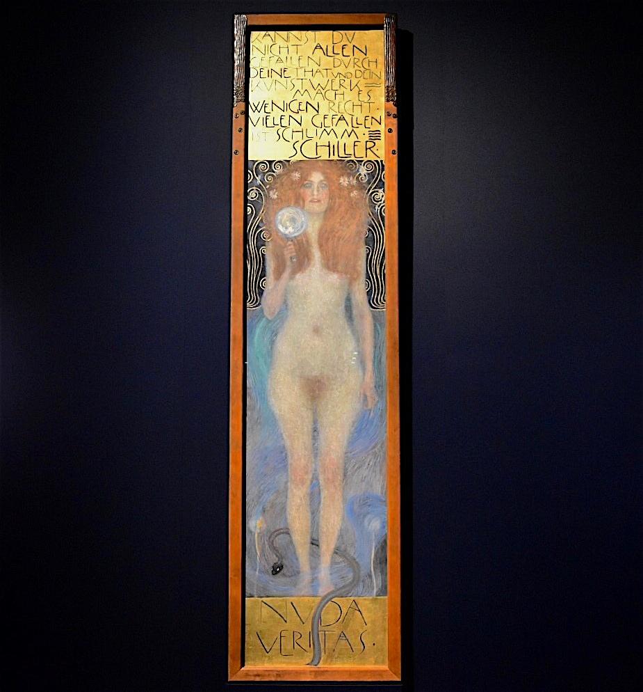 """Gustav Klimt """"Nuda Veritas"""" 1899, Öl auf Leinwand, 244 x 56.5 cm"""