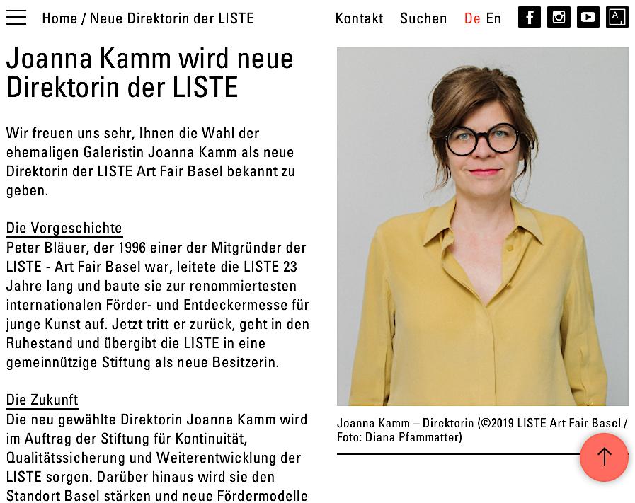 Joanna Kamm, new director of LISTE (screenshot)