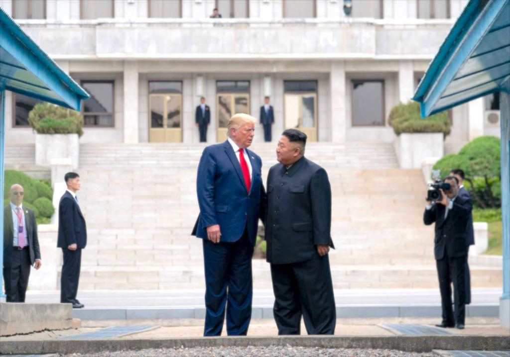 The President of the United States of America Trump loves his North Korean counterpart + friend Kim Jong Un, Panmunjom 2019-6-30
