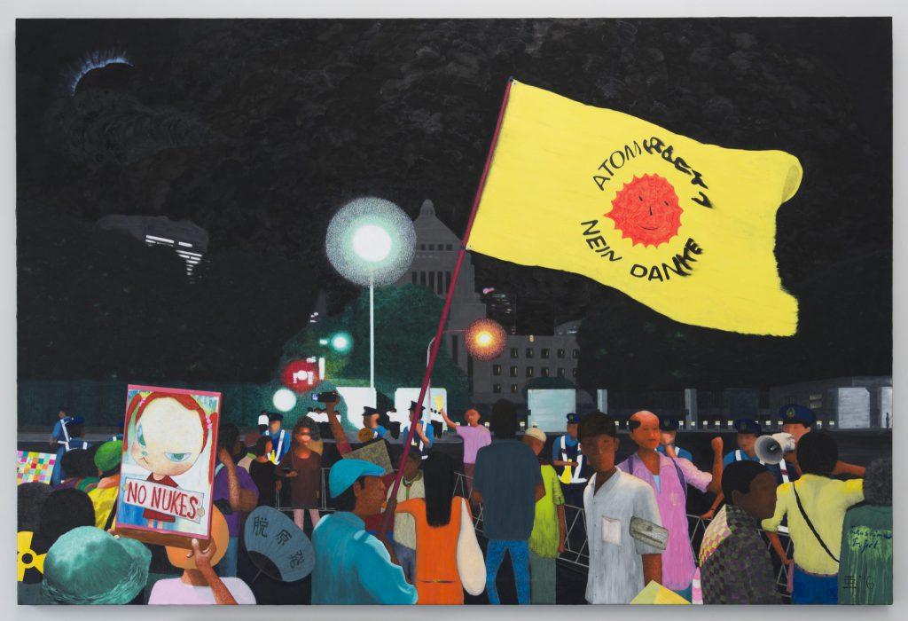 亜 真里男 Mario A「2012年8月17日、国会前「ATOMKRAFT? NEIN DANKE」(原子力?おことわり)」2016年、130,3 x 194 cm、キャンバスに油彩