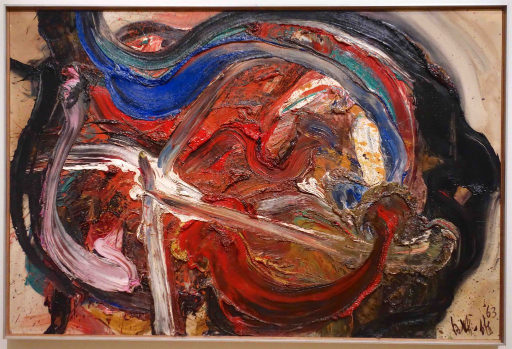 白髪 一雄 SHIRAGA Kazuo 天富星撲天雕 Tenpusei Hakutencho (Wealth star striking hawk) 1963 Oil on canvas