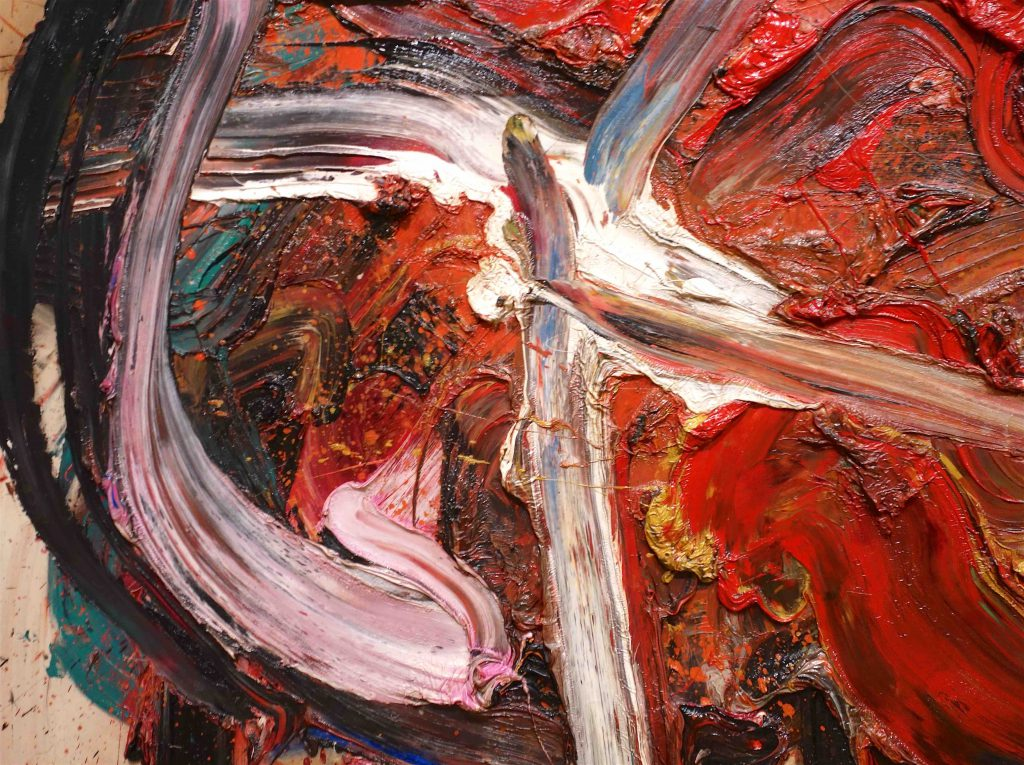 白髪 一雄 SHIRAGA Kazuo 天富星撲天雕 Tenpusei Hakutencho (Wealth star striking hawk) 1963 Oil on canvas, detail