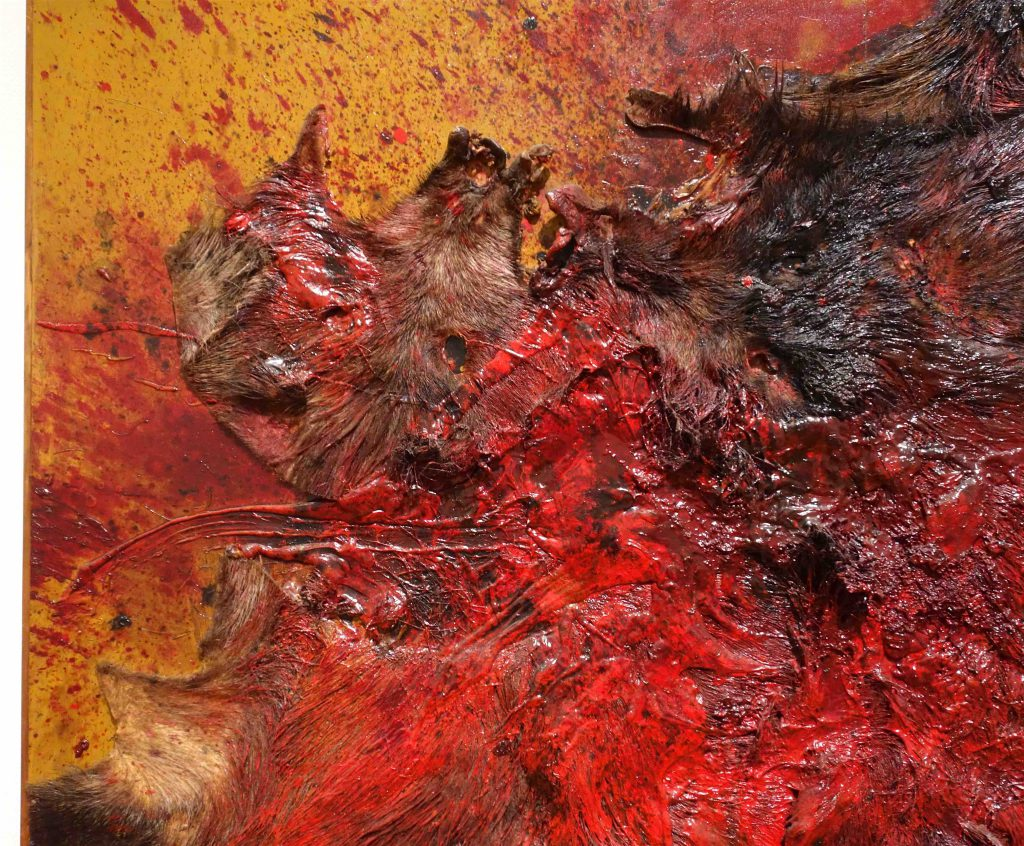 白髪 一雄 SHIRAGA Kazuo 猪狩壱 Wild Boar Hunting 1 1963 Fur, paste, oil on panel, detail2