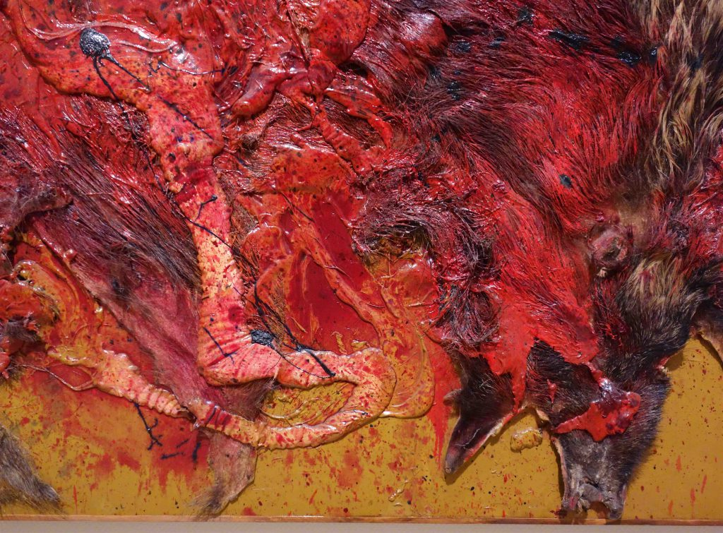 白髪 一雄 SHIRAGA Kazuo 猪狩壱 Wild Boar Hunting 1 1963 Fur, paste, oil on panel, detail3