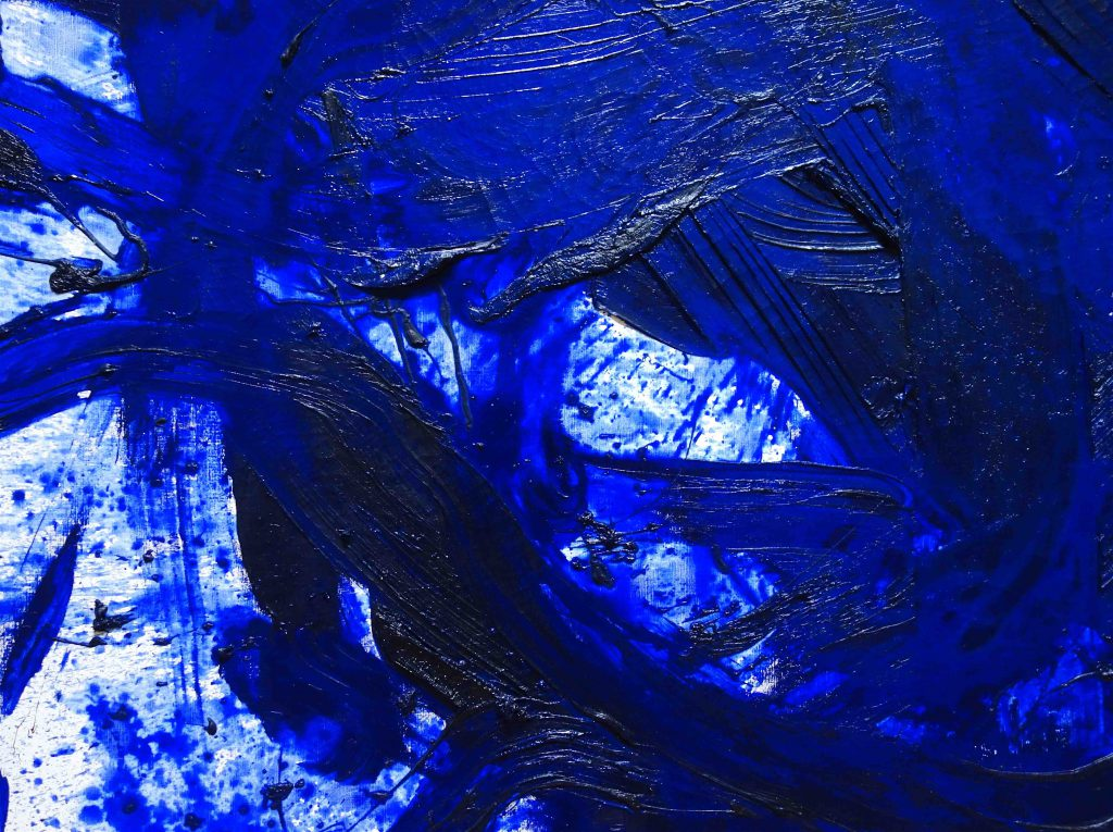 白髪 一雄 SHIRAGA Kazuo 群青 Gunjo (Ultramarine) 1985 Oil on canvas, detail