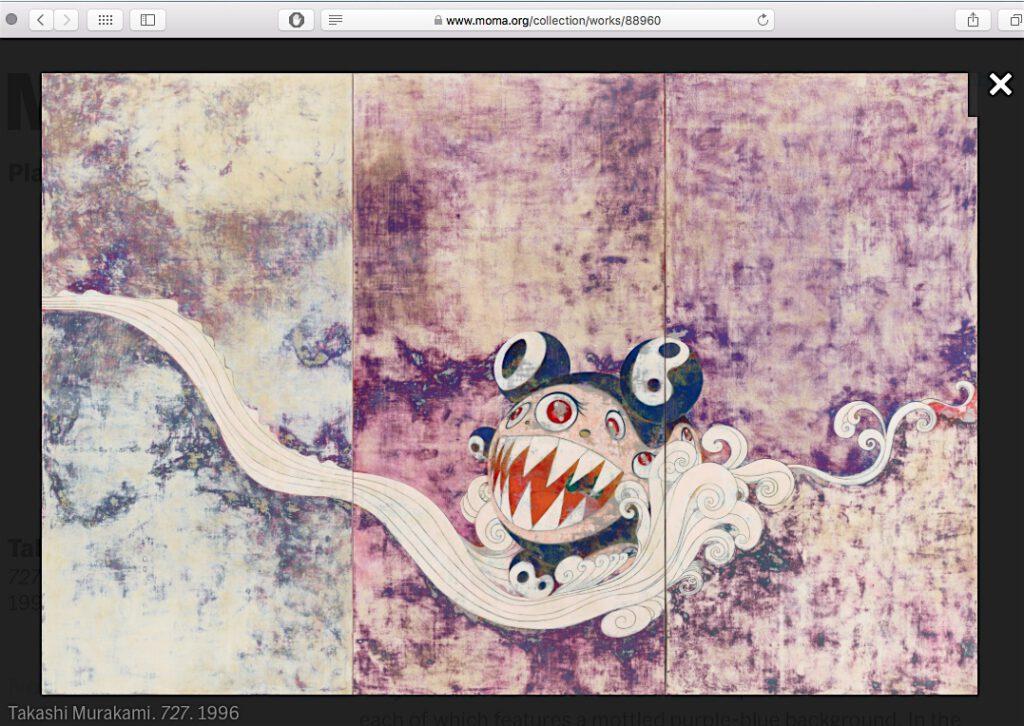 """村上隆 MURAKAMI Takashi """"727"""" 1996. Synthetic polymer paint on canvas board, three panels, 299.7 x 449.6 cm. The Museum of Modern Art, New York. Gift of David Teiger, 2003, screenshot from MoMA's website"""