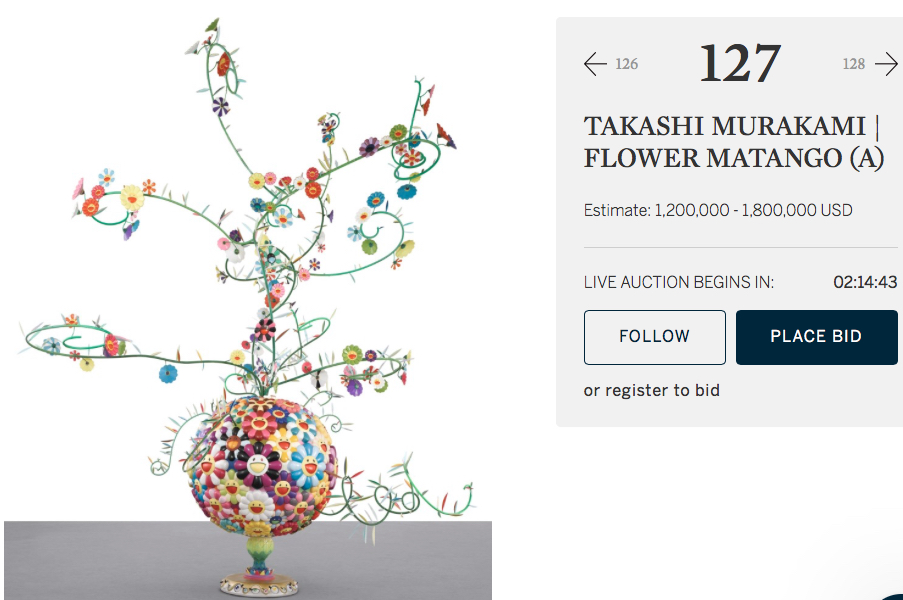 "similar work 2 weeks ago @ Sotheby's Takashi Murakami ""Flower Matango (A) 2001-2006, sold for US$ 1.400.000"