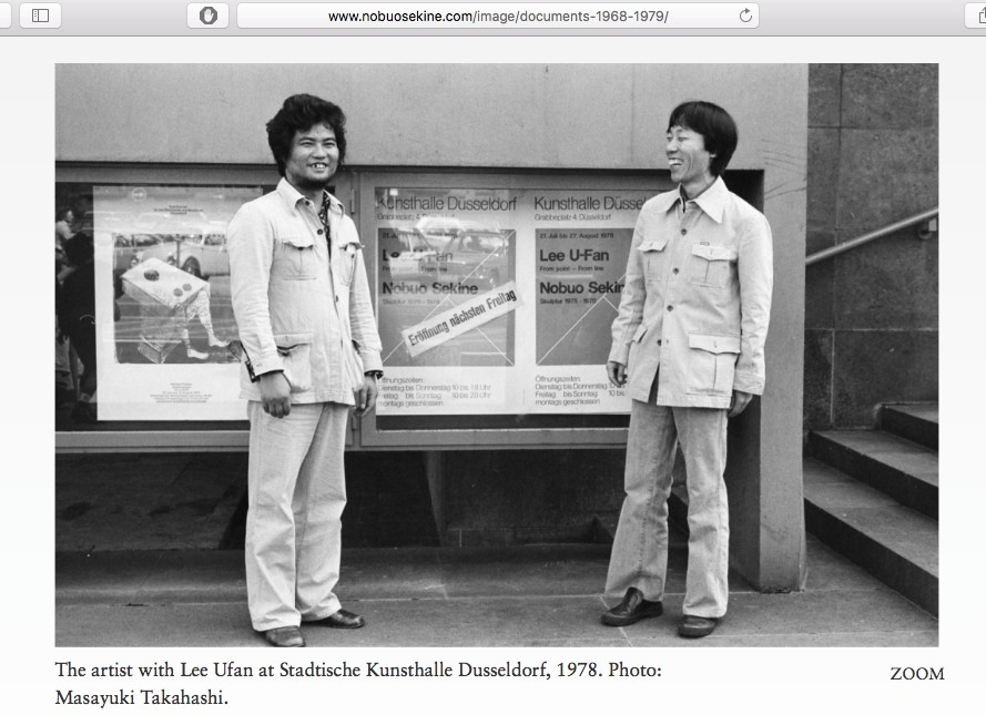 SEKINE Nobuo 関根伸夫 and Lee Ufan 李 禹煥 リ・ウーファン 1978, screenshot from the website of Sekine