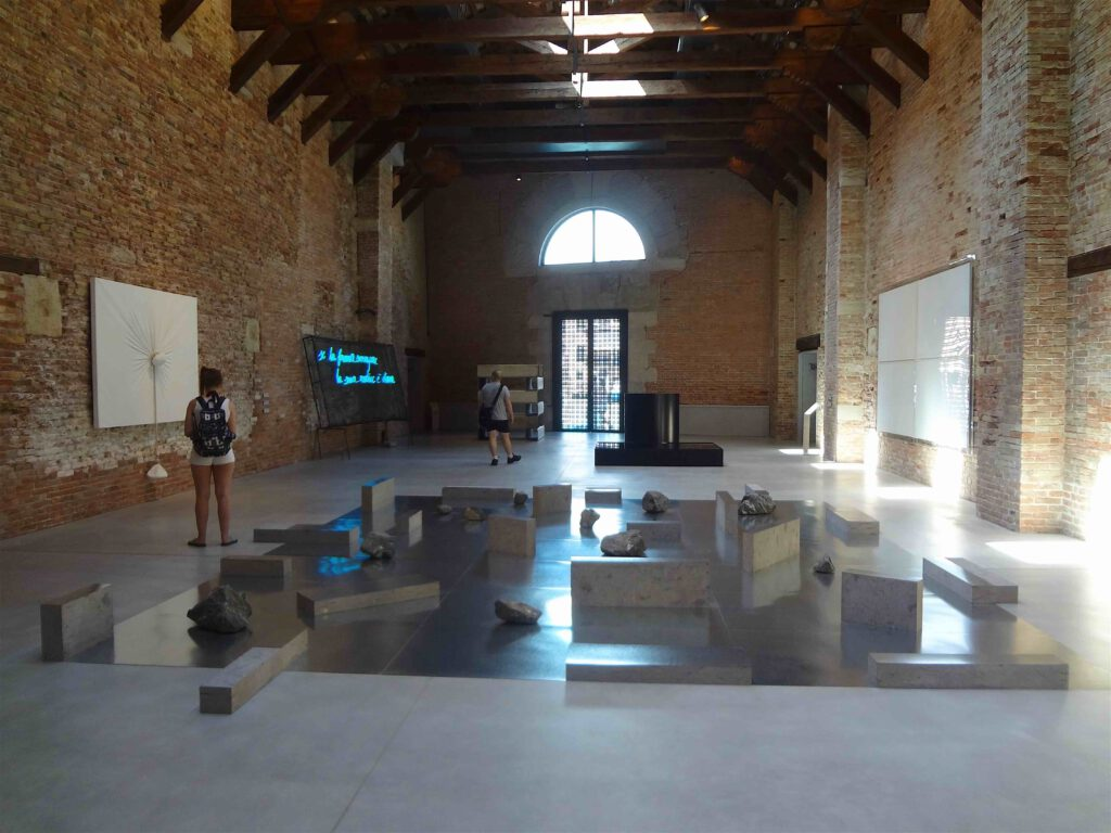 "SUGA Kishio 菅 木志雄 Gap of the entrance to the space 1979-2012 (center) @ ""PRIMA MATERIA"" Punta della Dogana, Venice 2013"