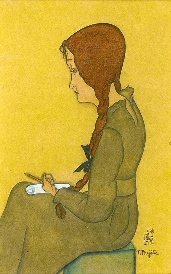藤田嗣治・Léonard Foujita・レオナール・フジタ Jeune Femme Assise (Jeanne Hebuterne), ca. 1917 watercolour, 20 x 12.5 cm. signed lower right, private collection