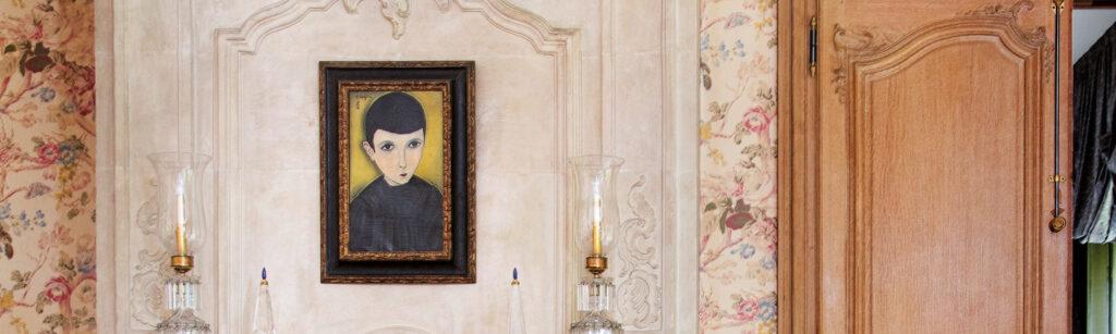 藤田嗣治・Léonard Foujita・レオナール・フジタ PETIT ÉCOLIER EN BLOUSE NOIRE, 1918, oil on canvas, back: à Cagnes 1918. Collection Jacques et Claude Rohault de Fleury @ Sotheby's 2020/10/23