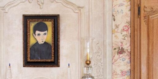 藤田嗣治・Léonard Foujita・レオナール・フジタ PETIT ÉCOLIER EN BLOUSE NOIRE, 1918, oil on canvas, back: à Cagnes 1918