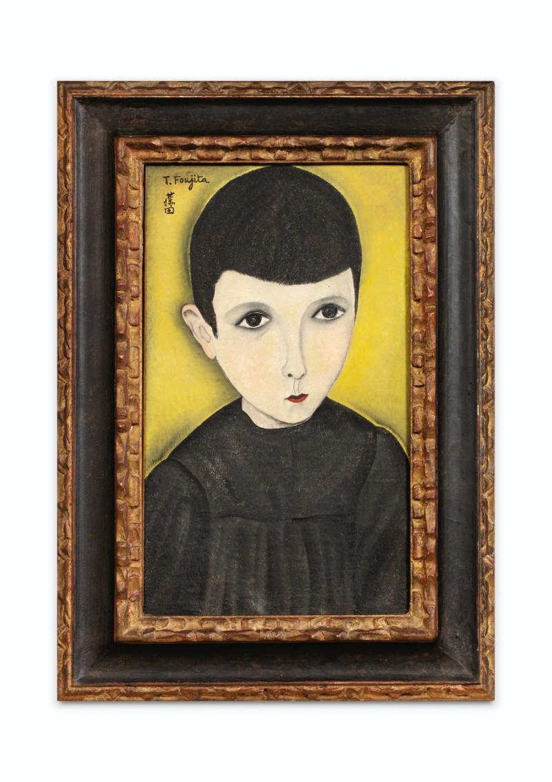 藤田嗣治・Léonard Foujita・レオナール・フジタ PETIT ÉCOLIER EN BLOUSE NOIRE, 1918, oil on canvas, original frame