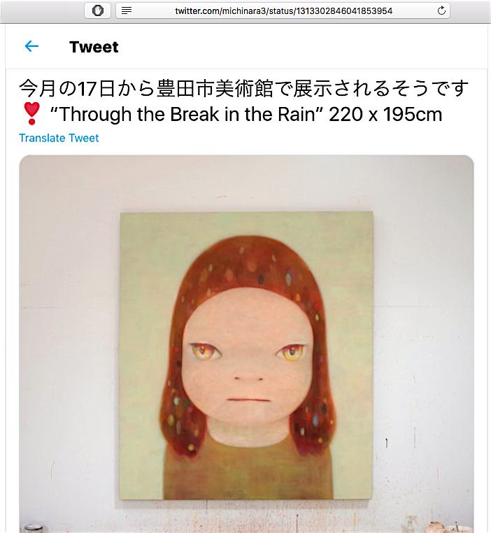 NARA Yoshitomo 奈良美智 Through the Break in the Rain 2020年 screenshot from Nara's Twitter account, courtesy creative common sense
