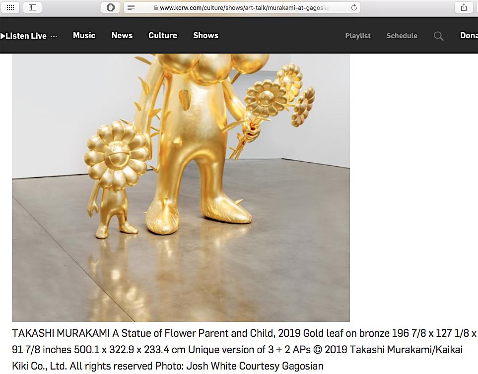 村上隆 TAKASHI MURAKAMI A Statue of Flower Parent and Child 2019 Gold leaf on bronze 196 7:8 x 127 1:8 x 91 7:8 inches 500.1 x 322.9 x 233.4 cm Unique version of 3 + 2 APs @ Gagosian 2019, screenshot from KCRW website