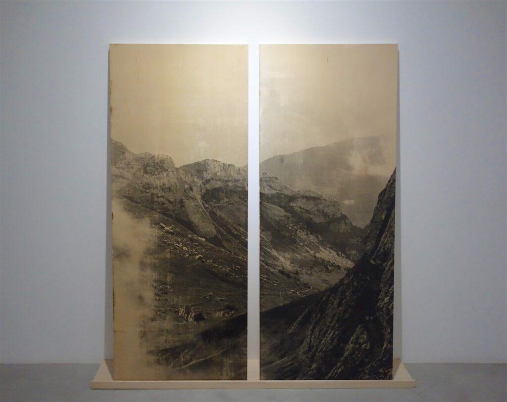 "NAGASHIMA Yurie 長島有里枝 ""Mountains, Luzern, Switzerland"" 「山、ルツェルン、スイス」 2017, 写真乳剤、板、 各 135 x 54 cm, unique"