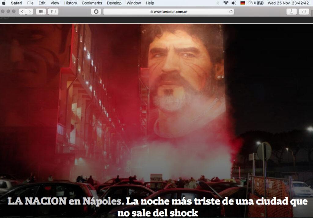 The reaction in Napoli (Italy) shown in 'La Nacion' newspaper, Argentina