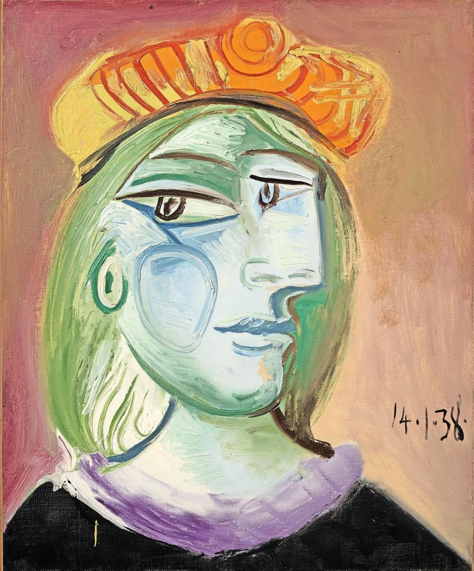 Pablo Picasso Femme au béret rouge-orange 14.Jan. 1938, estimate 20-30 Mio US$