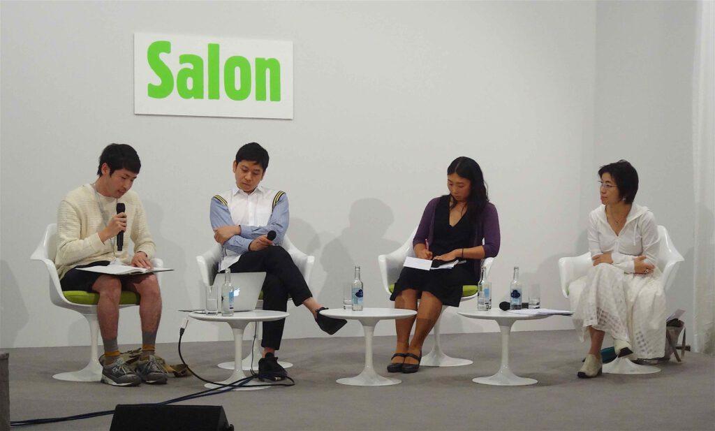 "ART BASEL, Salon 2014/6/21. Artist Talk ""Japan's Post Murakami Generation"" From left: Artists URABE Fumito (Nagoya) NAWA Kohei (Kyoto) in conversation with HASEGAWA Yuko, then Chief Curator, Museum of Contemporary Art, Tokyo"