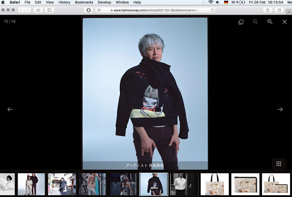 ステラ・マッカートニーと奈良美智のコラボ, fashionsnapサイトのスクリーンショット