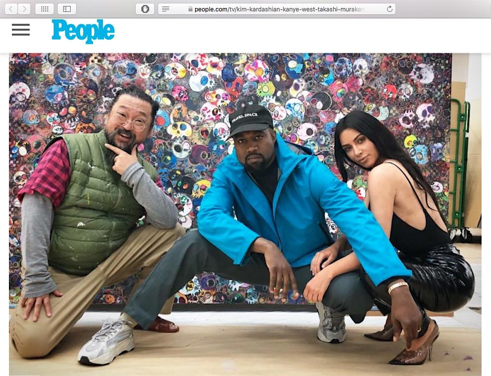 Takashi, Kanye & Kim @ Takashi's studio, screenshot from people website