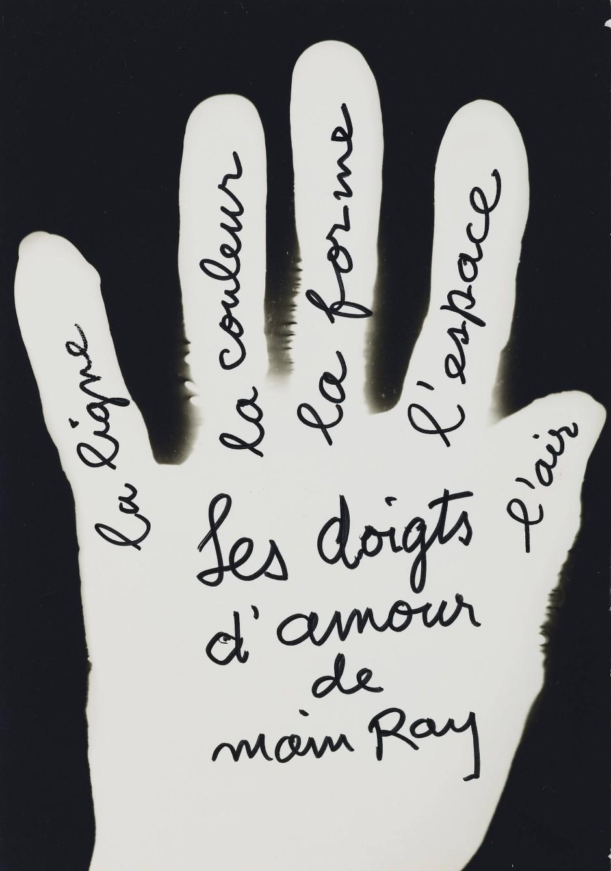 マン・レイ Man Ray Les doigts d'amour de Main Ray, la ligne, la couleur, la forme, l'espace, l'air 1951 Estimate 50-70.000 Euro