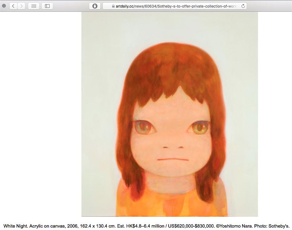 奈良美智作 White Night, 2006 @ サザビーズ オークション You are not Alone – Yoshitomo Nara works from The Kurokochi collection, screenshot of artdaily