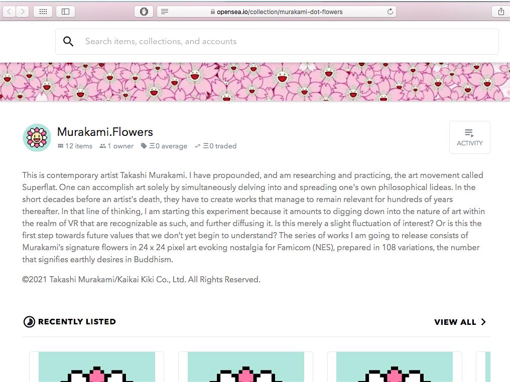 Takashi MURAKAMI 村上隆 NFT Murakami Flowers opensea