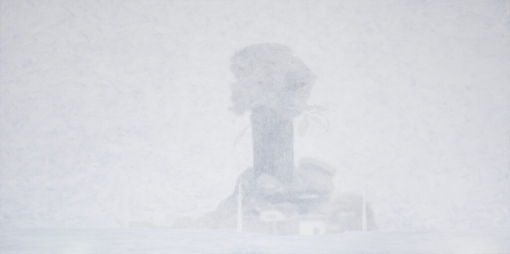 "Mario A 亜 真里男「東京への風 (ヒロシマ・ナガサキ・フクシマ)」""The Wind towards Tokyo (Hiroshima - Nagasaki - Fukushima)"" 97 x 194 cm, oil on canvas, 2016"