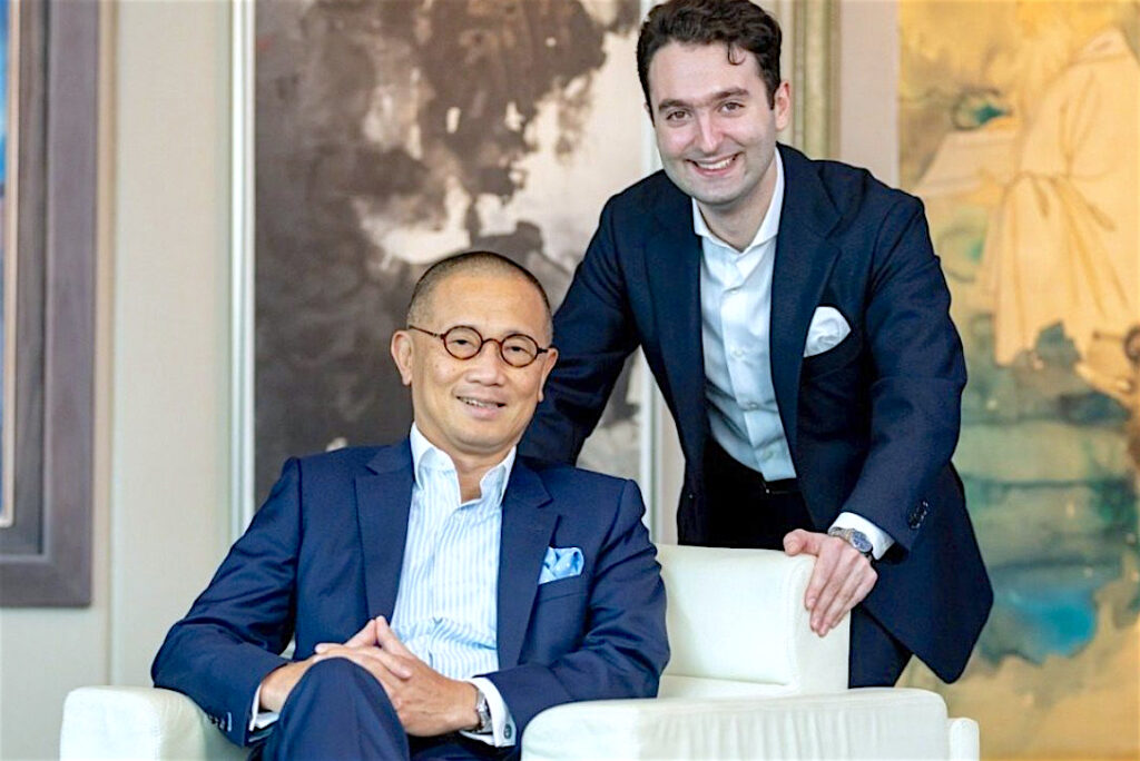 Kevin Ching (seated), Sotheby's outgoing Asia CEO, and Nathan Drahi, the 26-year-old son of Sotheby's owner Patrick Drahi