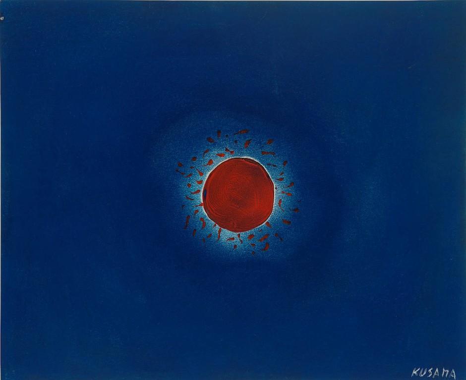草間彌生 KUSAMA Yayoi Sun 1953, oil, gouache, pastell on paper, 26.6 x 31 cm, estimate 40.000-60.000 US Dollar @ Bonhams