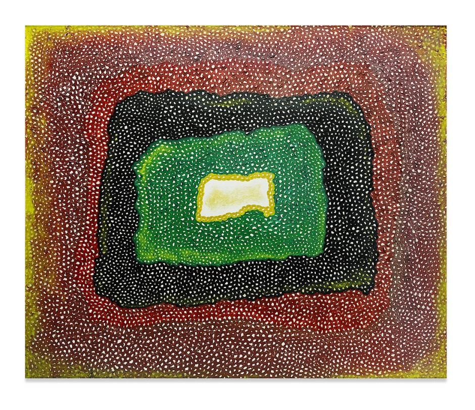 """草間彌生 KUSAMA Yayoi """"Untitled"""" 1965, oil on canvas, 111 x 130,8 cm, estimate 2.5-3.5 Million US Dollar @ Bonhams 2021"""