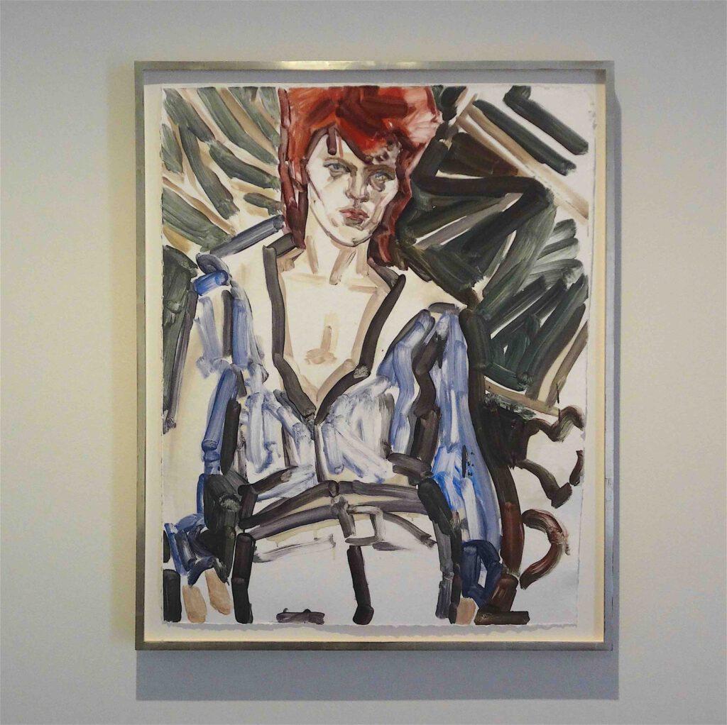 DAVID BOWIE, BEVERLY HILLS HOTEL, 1972 by Elisabeth Peyton, 97,8 x 78,7 cm, Monotypie auf handgeschöpftem Papier, Privatsammlung @ Kunsthalle Baden-Baden 2013