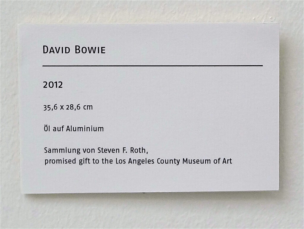 David Bowie by Elizabeth Peyton, 2012, explanation board. Steven F. Roth Collection, promised gift to the Los Angeles County Museum of Art LACMA. Later sold @ Sotheby's 12 May 2021, LOT 101 for 2,077,000 US Dollar