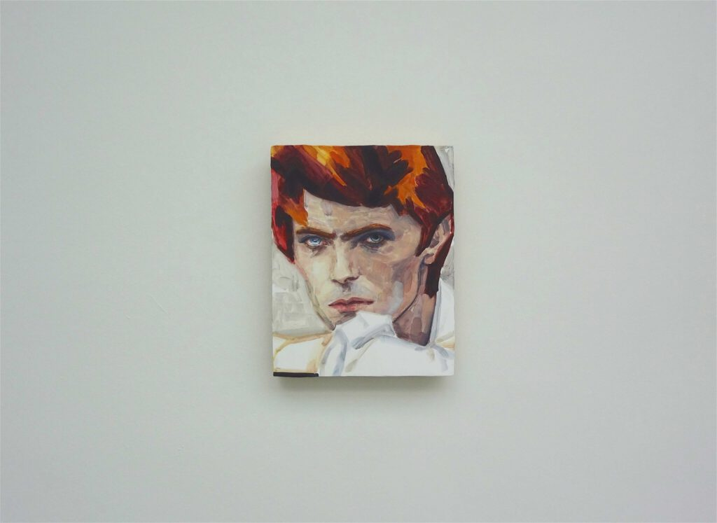 David Bowie by Elizabeth Peyton, 2012 oil on aluminium veneered panel, 35.6 by 28.6 cm, Steven F. Roth Collection