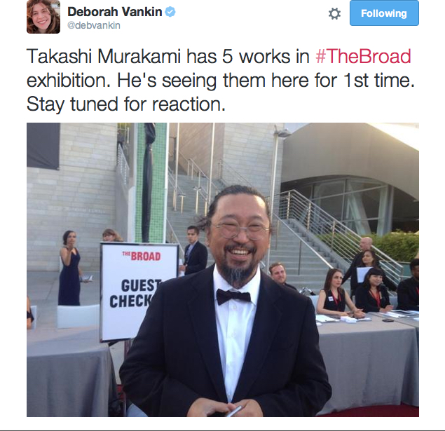 Deborah Vankin's shot of Murakami during the reception @ THE BROAD, Sept.2015