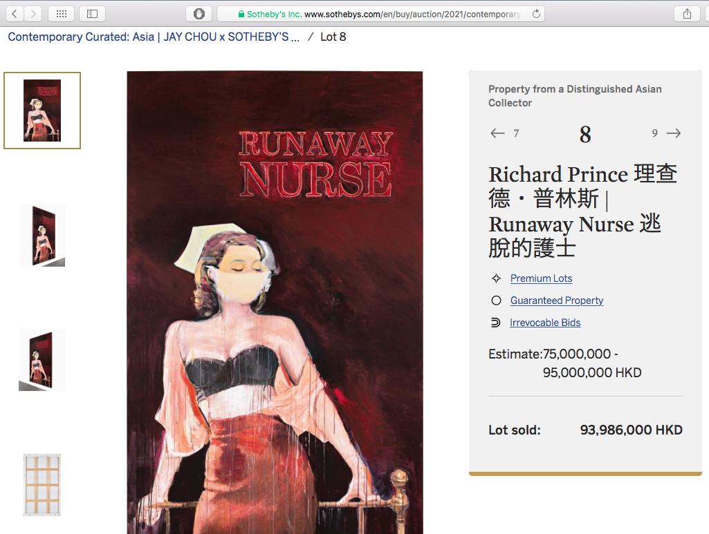 "From the MAEZAWA Yusaku Collection 前澤友作コレクション , Richard Prince ""Runaway Nurse"" 2005-6"