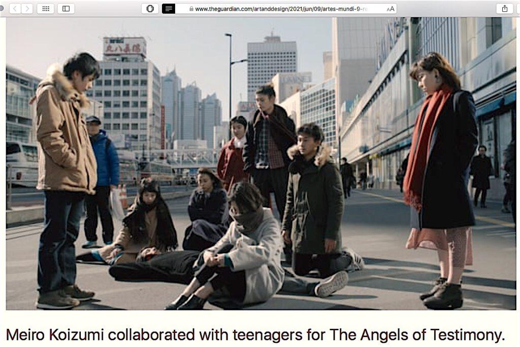 """小泉明郎 KOIZUMI Meiro """"The Angels of Testimony"""", still (2019) shown @ Artes Mundi 9. Courtesy the artist, MUJIN-To Production, Tokyo and Annet Gelink Gallery, Amsterdam. Screenshot taken from The Guardian Newspaper 9th of June, 2021"""