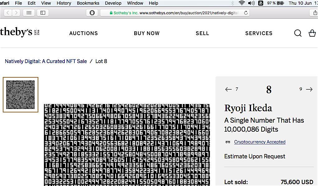 池田亮司 Ryoji Ikeda A Single Number That Has 10,000,086 Digits sold for 75.600 US$ @ Sotheby's 2021:6:10