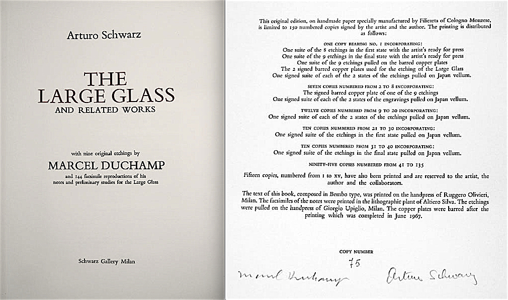 """Limited Deluxe Edition of """"THE LARGE GLASS"""" book, produced by Schwarz Gallery Milan, 1967"""