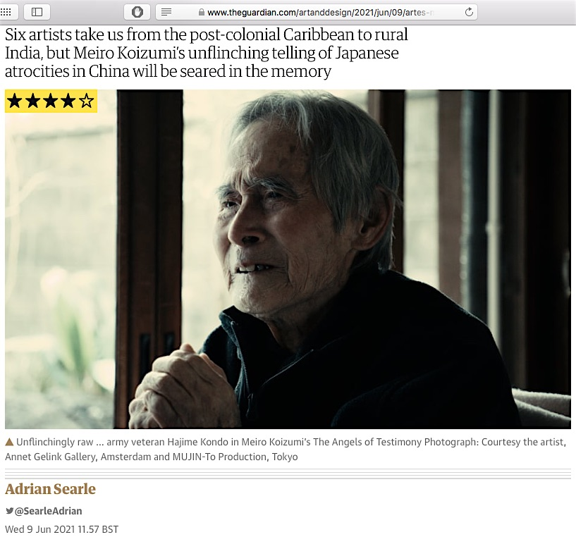 screenshot from the website of The Guardian