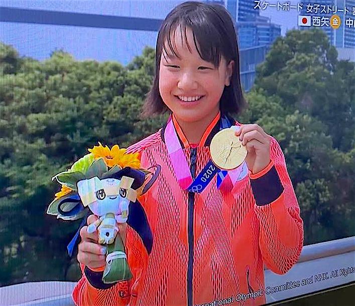 Gold in skateboard Momiji NISHIYA, Japan