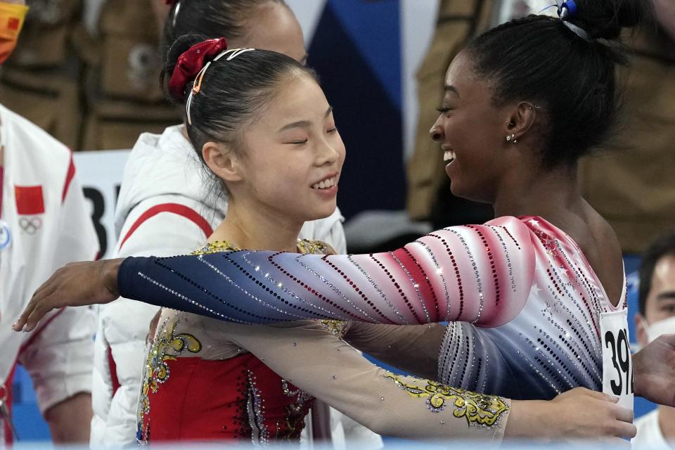 Guan Chenchen and Simone Biles (U.S.A., Bronze, Balance Beam)