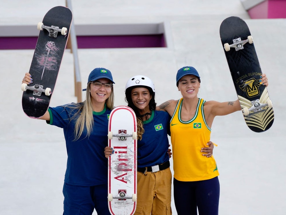 Olympic scateboarders from Brazil, right Leticia Bufoni