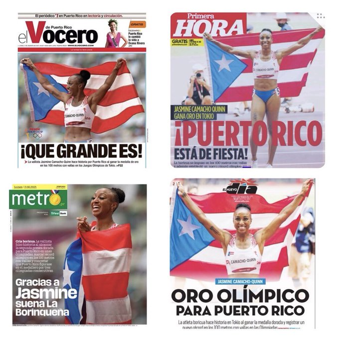 Puerto Rican newspapers celebrate Jasmine Camacho-Quinn, 100 m hurdles
