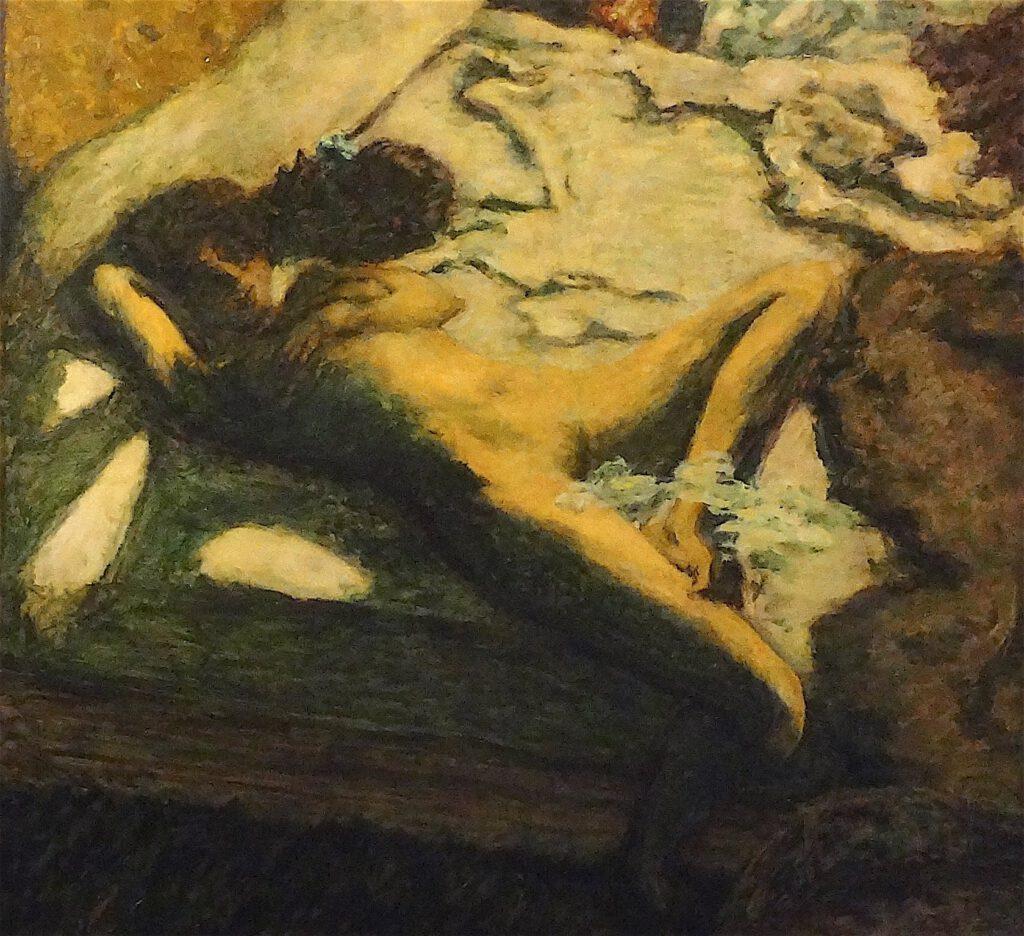 ピエール・ボナール「ベッドの上でうとうとする女性」又は「惰性的な女性」1899年、部分