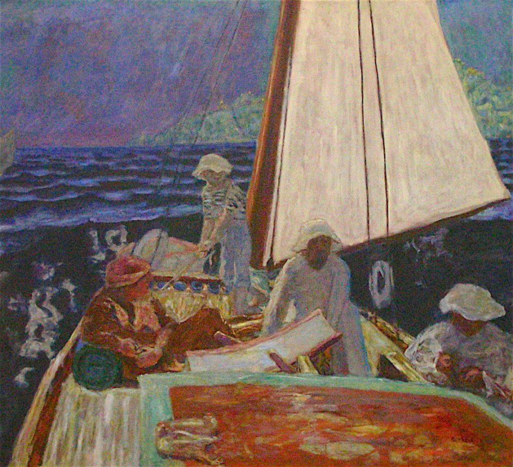 ピエール・ボナール「ボートに乗るシニャックと仲間たち」1924年、チューリッヒ