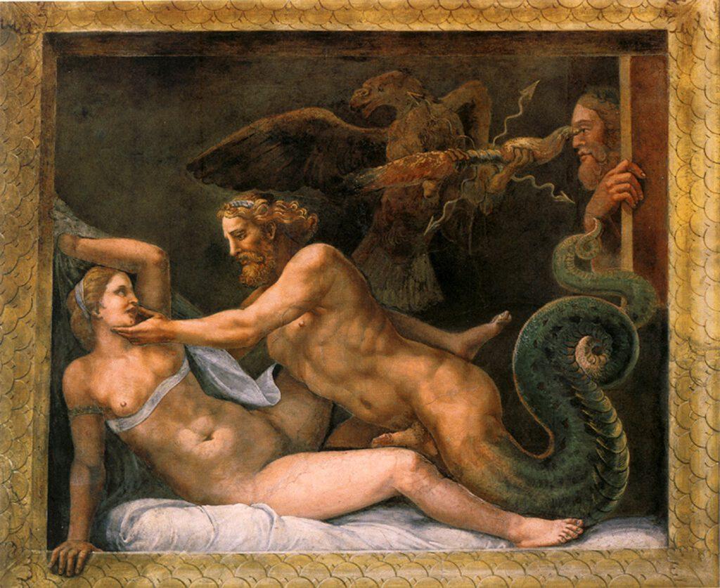 Giove seduce Olimpiade 1510-1513, Mantua, Palazzo del Te, Italy