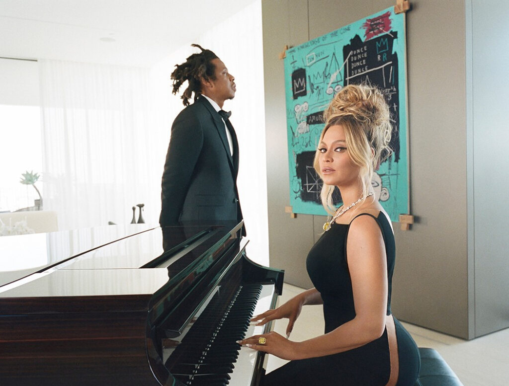 Basquiat, Jay-Z and Beyoncé in the new Tiffany campaign, courtesy Tiffany & Co.